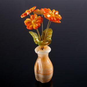 Сувенир «Ваза цветов», герберы, 5 цветков, 11?22 см, селенит 3413652