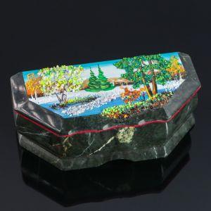 """Ларец """"Зима"""", 17х7х6, каменная крошка, змеевик 4022876"""