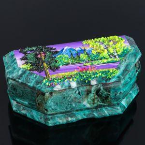 "Ларец ""Лето"", 17х7х6, каменная крошка, змеевик 4022874"