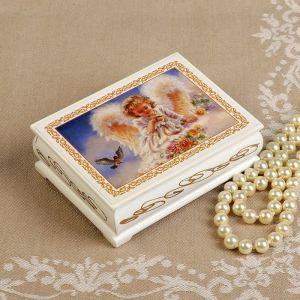 Шкатулка «Ангелок с птичками», белая, 8?10,5 см, лаковая миниатюра 3696451
