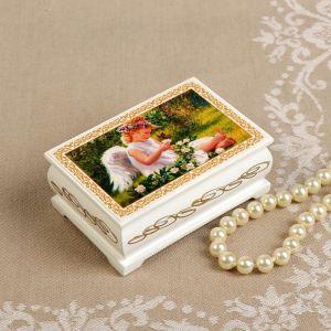 Шкатулка «Ангелочек с бабочкой», белая, 6?9 см, лаковая миниатюра 3696437