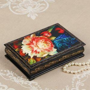 Шкатулка «Бабочка на цветке», 11х16 см, лаковая миниатюра 2431110