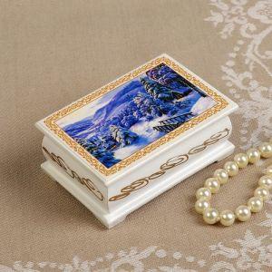 Шкатулка «Зимняя деревня», белая, 6?9 см, лаковая миниатюра 3696440