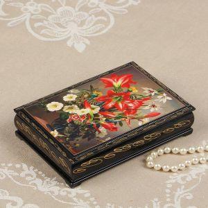 Шкатулка «Лилии в вазе», 11?16 см, лаковая миниатюра 2664000