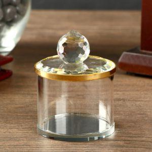 "Шкатулка стекло с металлическим ободком ""Золото"" 6,5х5х5 см   4453203"