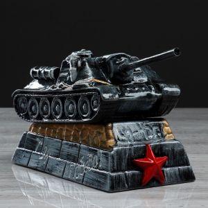 "Копилка ""Танк СУ-100"", глянец, чёрно-серый цвет, 14 см"