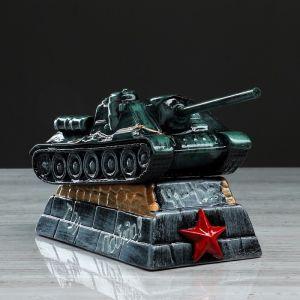 """Копилка """"Танк СУ-100"""", глянец, чёрно-зелёный цвет, 14 см"""