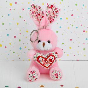 Мягкая игрушка-брелок «Зайка», с сердцем, цвета МИКС