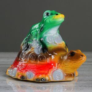 """Копилка """"Жаба на черепахе"""", глянец, разноцветная, 13 см"""