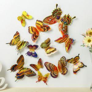 "Магнит пластик ""Бабочки золото"" набор 12 шт МИКС h=4,4,5,5,6,8,9,5,13,5,14,5 см   3746973"
