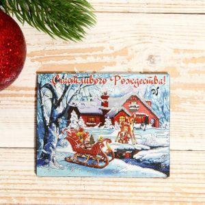 """Магнит """"Новый год и Рождество: """"Счастливого Рождества.Сани"""" 7х9см   4558309"""