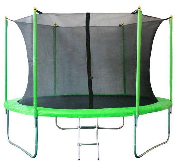 Батут 305см JUNHOP 10 Комплект с защитной сетью и лестницей зеленый