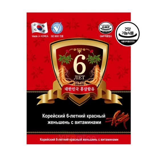 Корейский 6-летний красный женьшень с витаминами, 60 капсул