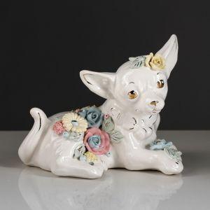 """Копилка """"Собака Чихуахуа"""", глазурь, белый цвет, 15,5 см"""