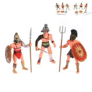 Набор фигурок Гладиаторы, 3 шт, оружие, пакет