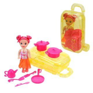 Кукла 7,5см в наборе с посудой 8 предм. и чемоданчиком, пакет