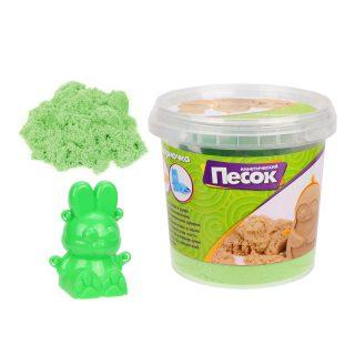 Кинетический песок 0,5 кг, цвет Зеленый, 3D формочка