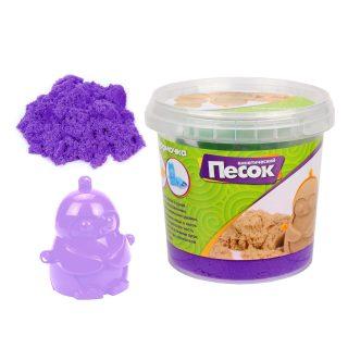 Кинетический песок 0,5 кг, цвет Фиолетовый, 3D формочка