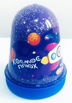 Слайм Плюх Космос Светящийся с блестками, Фиолетовый 130 г