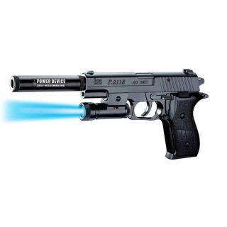 Пистолет мех., в комплекте: пули 10шт., глушитель, фонарь, эл.пит.LR1130/AG10*3шт., пакет