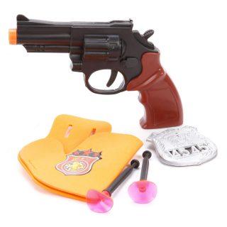 Игр.набор Полиция, револьвер, стрелы с присосками 2шт., кобура, значок, пакет