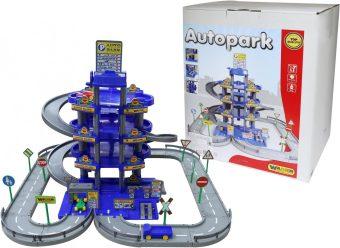 Паркинг 4-уровневый с дорогой и автомобилями, синий