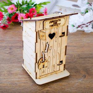 """Копилка деревянная, """"Туалет"""", с открывающейся дверью, 15 см. 2136768"""