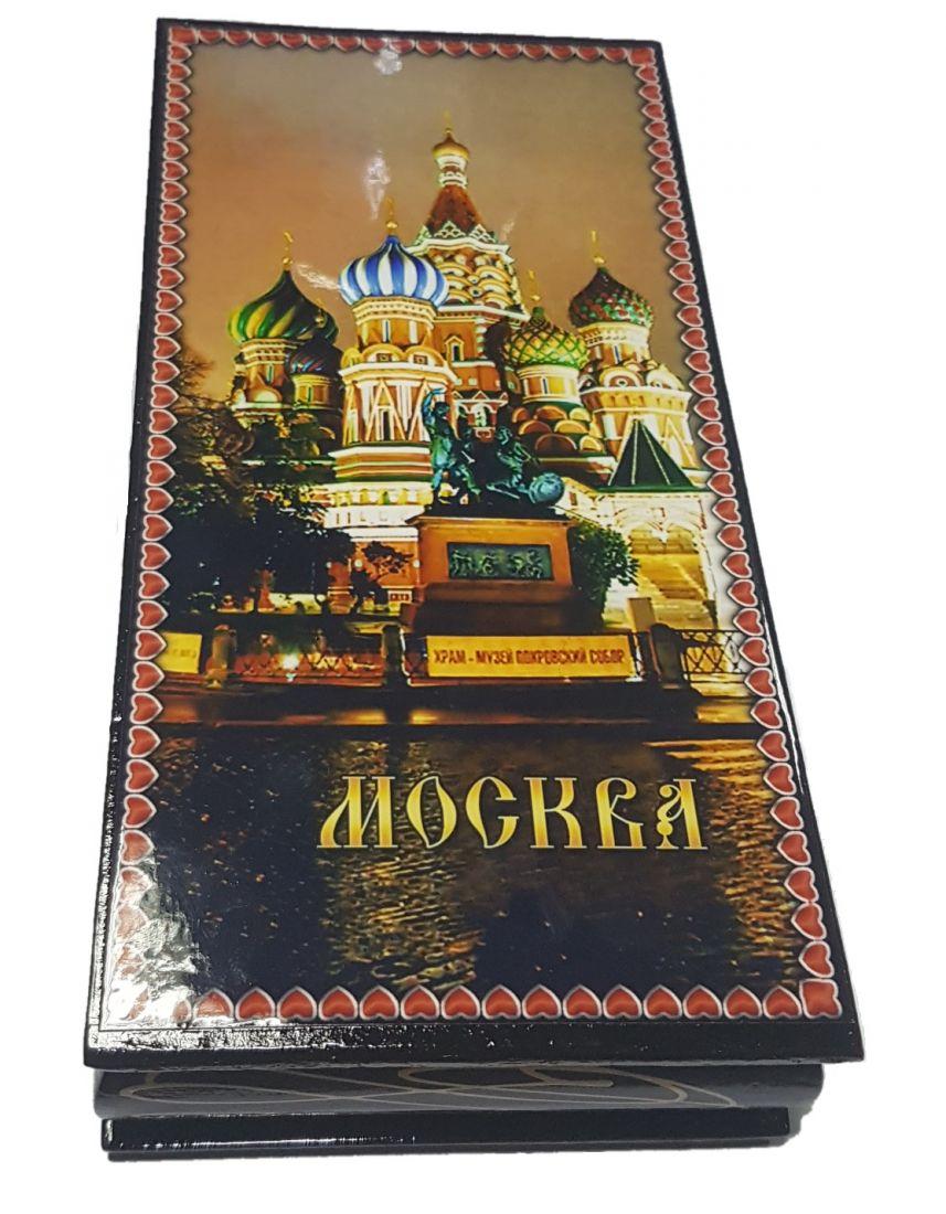 Шкатулка деревянная Храм Василия Блаженного 8,5х17 см