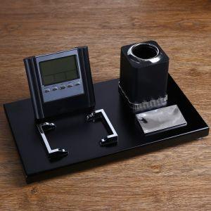 Набор настольный 4в1 (визитница, карандашница,лого,часы с подставкой) 17*30см 1527971
