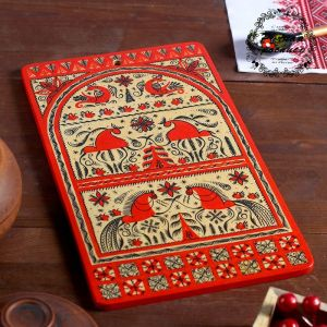 Доска разделочная «Прямоугольная», 18?0,8?31 см, красная, мезенская роспись 3686332