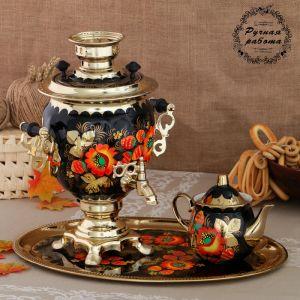 Набор «Маки», жёлудь, 3 предмета, самовар 3 л, заварочный чайник 0,7 л, поднос 773876