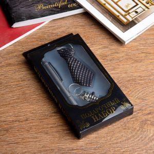 Набор подарочный 3в1 (ручка, брелок-галстук, фонарик) микс 925233