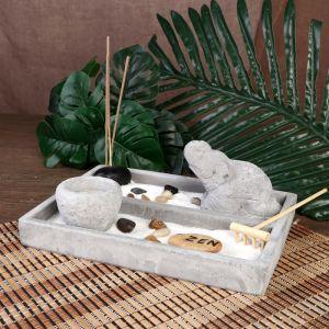 "Сад Дзен ""Слон в пустыне"" серый, песок+камни+аромапалочка+свеча 9х21х15,5 см   4453268"