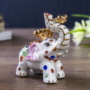 """Нэцке """"Слон разноцветный с жезлом Жуи"""" 7,7х4х3"""