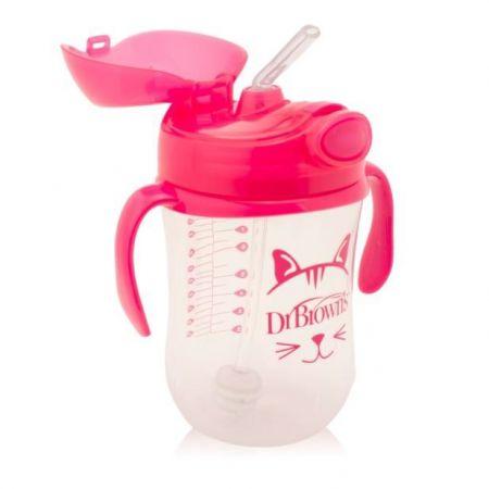 Dr.Brown's Чашка-непроливайка 270 мл с гибкой трубочкой с грузиком, ручками и откидывающейся крышкой, 6+, РОЗОВАЯ (Арт. ТС91011)