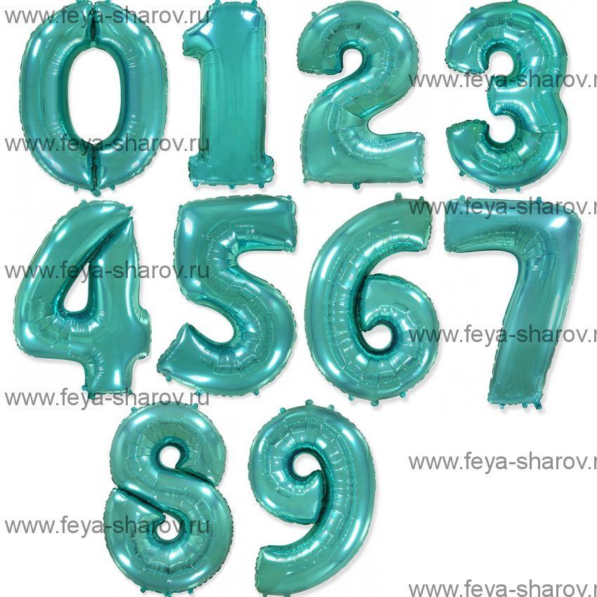 Шар-цифра  Бирюза 102 см