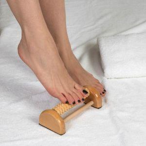Массажёр «Барабан», 1 ролик с шипами, деревянный