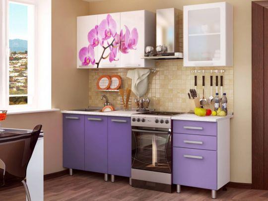 Кухня Орхидея с фотопечатью МДФ 1.6 м