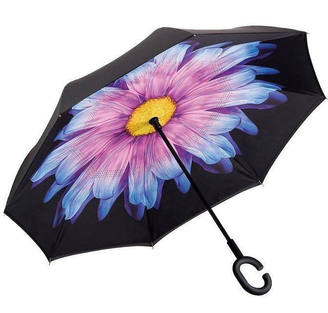 Зонт наоборот UPBRELLA, Фиолетовый цветок