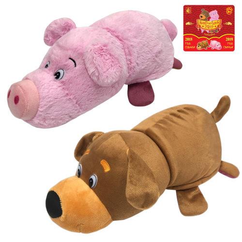 1toy игрушка Вывернушка 2в1 35 см., плюш, символы года, Собака-Свинья,бирка символы,пакет