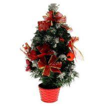 Настольная заснеженная ёлка в горшке Красная пуансетия, 50 см