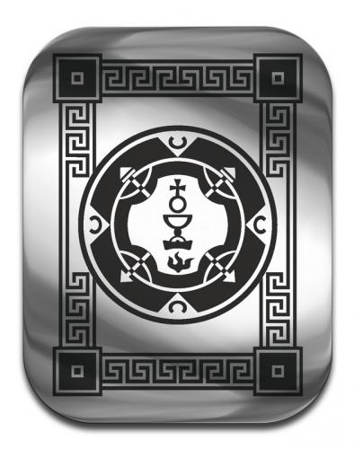 """Магическая карта """"Пентакль королевы  судьбы"""",  45Х35  мм, сталь с покрытием"""