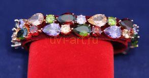 Позолоченный массивный браслет с разноцветными топазами (арт. 880131)