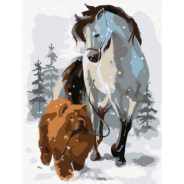 Картина по номерам Лошадь с собакой на прогулке 15*20см