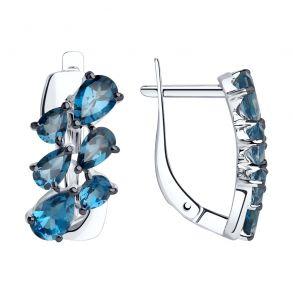 Серьги из серебра с синими топазами 92022065 SOKOLOV