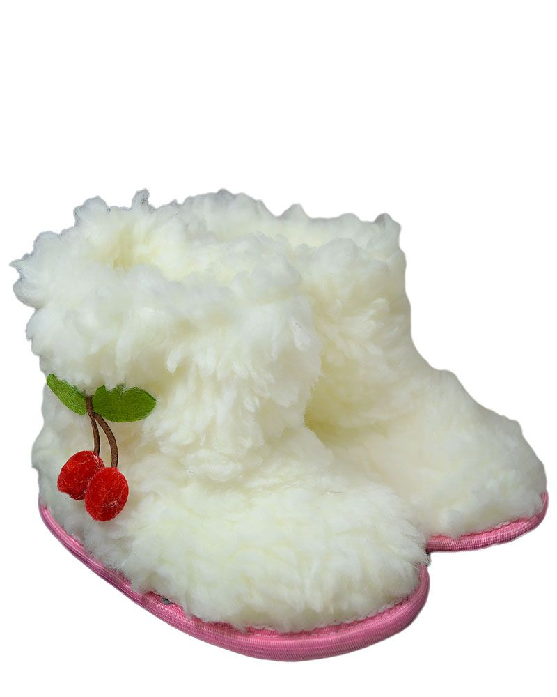 ч1009-32 (19) Чуни из искуственной овчины Вишенки молочные 19 см