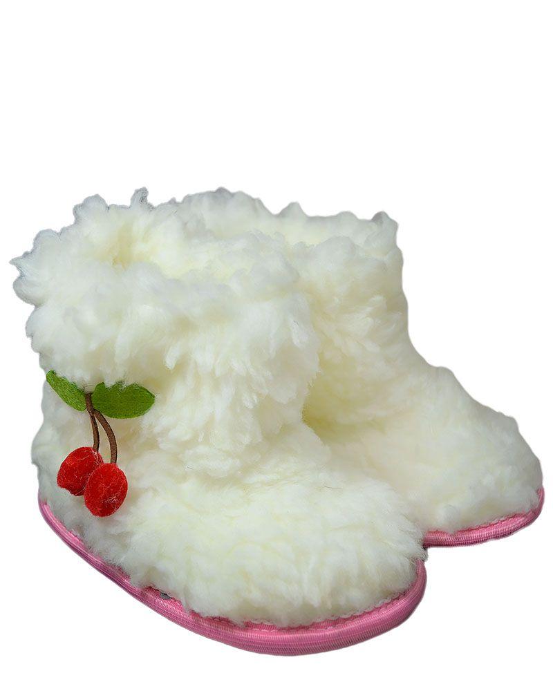 ч1009-32 (18) Чуни из искуственной овчины Вишенки молочные 18 см