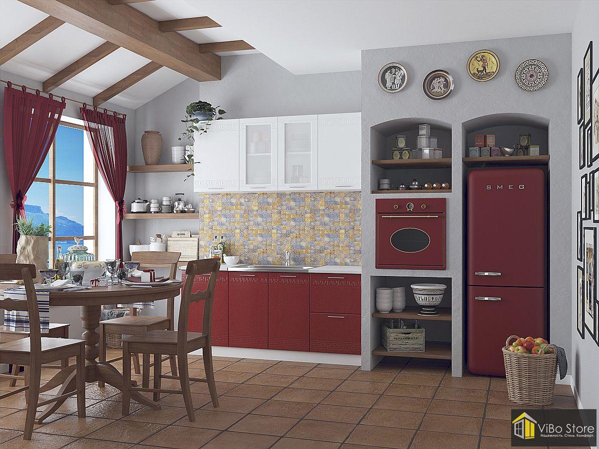 Греция-01 21771. Кухня в средиземноморском стиле с гранатовым фасадом