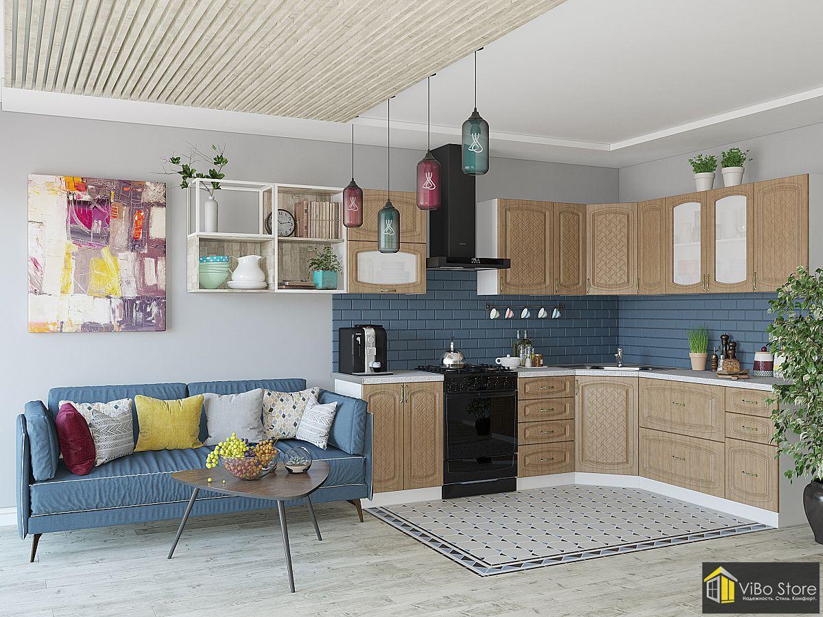 Угловая кухня цвет фасада анегри