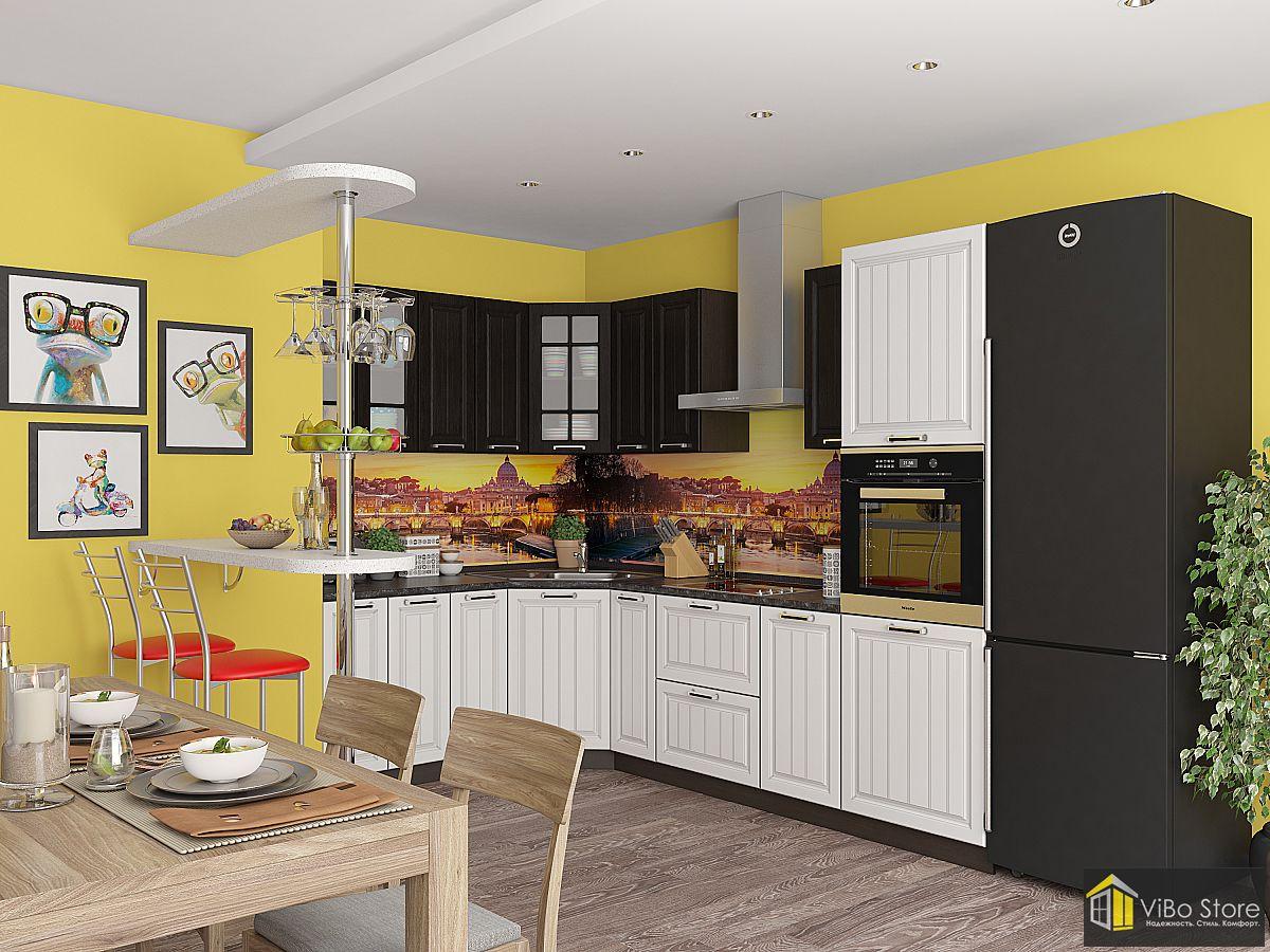 Угловая модульная кухня белого цвета с темной столешницей